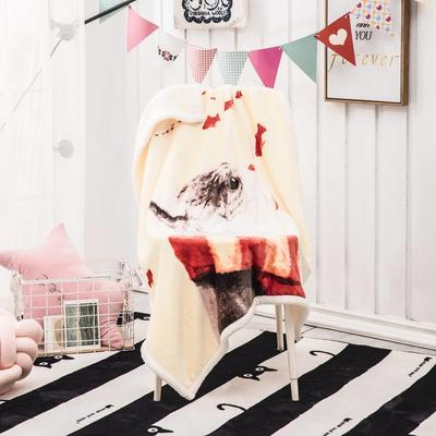2019新款爆款羊羔絨兒童毯 100*140cm 幸福就是貓吃魚