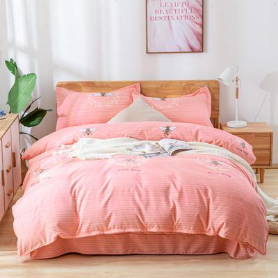 2019新款全棉生态加厚磨毛四件套 1.2m床单款三件套 小蜜蜂粉