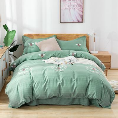 2019新款全棉生态加厚磨毛四件套 1.8m床单款四件套 小蜜蜂绿