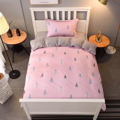 2019新款棉加水晶绒卡通条格保暖三件套 1.2m床三件套 梦想森林-粉