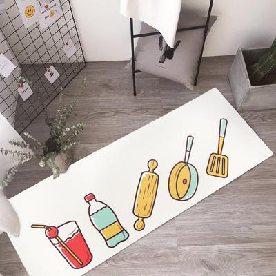 入户门厅门垫长条进门门口脚垫厨房防滑地垫卡通图案地毯垫子家用 45*75cm 厨房