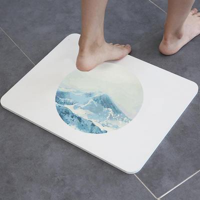 慢说/天然硅藻泥脚垫 吸水速干卫生间浴室防滑门垫家用硅藻土地垫(山水) 35*45*0.9cm 山水