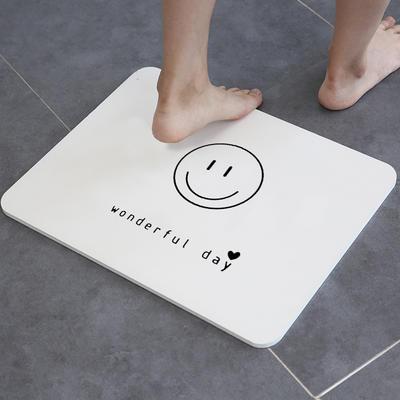 慢说/天然硅藻土地垫 卫生间浴室门垫吸水速干防滑垫子硅藻泥脚垫(笑脸) 30*45*0.9cm 笑脸