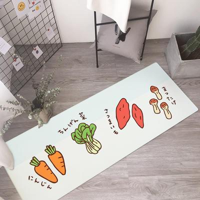 厨房长条地垫进门门垫入户门口地毯垫子防滑脚垫可爱卡通图案家用 45*75cm 可爱蔬菜