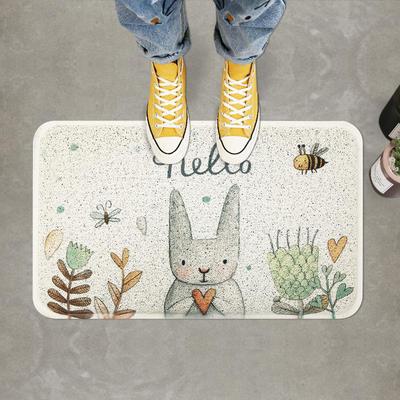 入户门地垫门垫丝圈进门防滑蹭脚垫大门门口地毯垫子可爱兔子图案 45*75cm 小兔