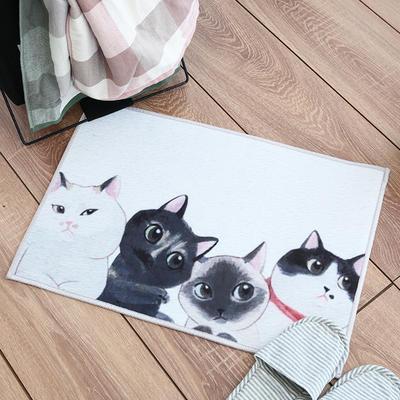 慢说/进门门厅地垫可爱卡通猫咪图案 北欧ins风卫生间厨房防滑脚 40*60cm 小猫