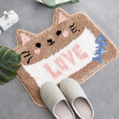 卫生间地垫门垫加厚吸水浴室防滑垫卧室门口LOVE猫地垫 500mm×600mm LOVE猫