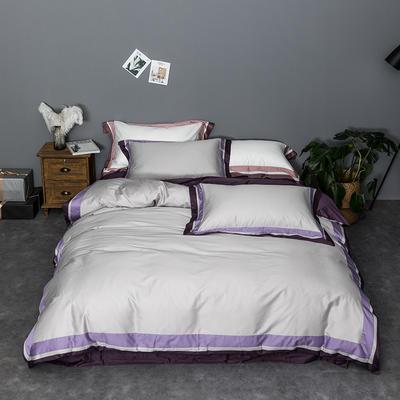 2019新品60长绒棉纯色  柏林顿四件套 1.8m(6英尺)床 丁香紫-灰