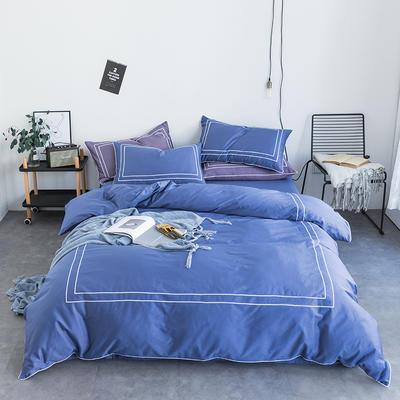 2019新品60长绒棉绣花  简格四件套 1.8m(6英尺)床 低饱和蓝