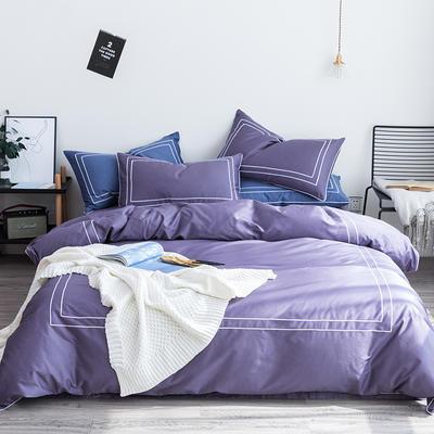 2019新品60长绒棉绣花  简格四件套 1.8m(6英尺)床 低调紫