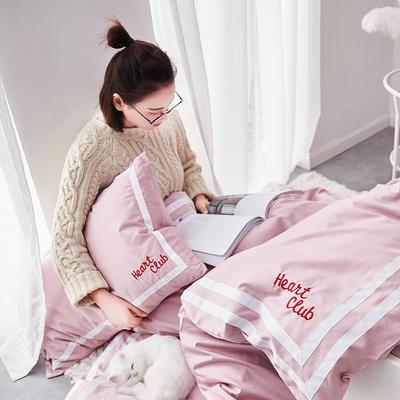 2019新品60长绒棉绣花  甜心(电子图)四件套 1.8m(6英尺)床 heart club 甜心橡皮粉