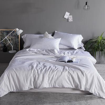 2019新品60长绒棉印花  条纹 都市风四件套 2.0m(6.6英尺)床 白条