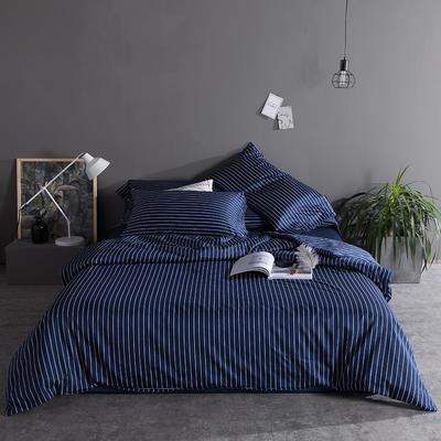 2019新品60长绒棉印花  条纹 都市风四件套 2.0m(6.6英尺)床 藏青条