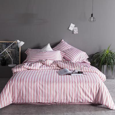 2019新品60长绒棉印花  条纹 都市风四件套 2.0m(6.6英尺)床 橘粉条