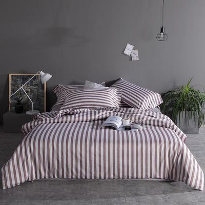 2019新品60长绒棉印花  条纹 都市风四件套 2.0m(6.6英尺)床 咖灰条
