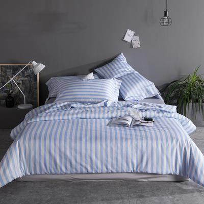 2019新品60长绒棉印花  条纹 都市风四件套 1.8m(6英尺)床 天蓝条