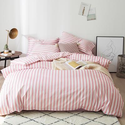2019新品60长绒棉印花   条纹 小清新风四件套 1.8m(6英尺)床 橘粉条