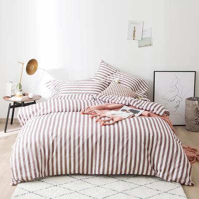 2019新品60长绒棉印花   条纹 小清新风四件套 1.8m(6英尺)床 咖灰色条