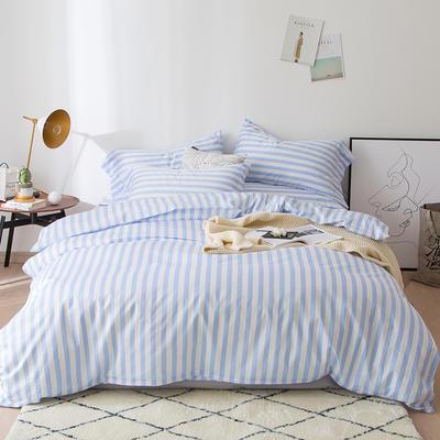 2019新品60长绒棉印花   条纹 小清新风四件套 1.8m(6英尺)床 天蓝条