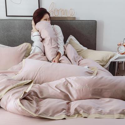 2019新品60支长绒棉四件套(模特图) 1.8m(6英尺)床 烟粉色