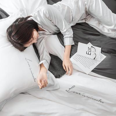 2019新品60双拼长绒棉四件套(实拍图) 1.8m(6英尺)床 本白-碳素灰