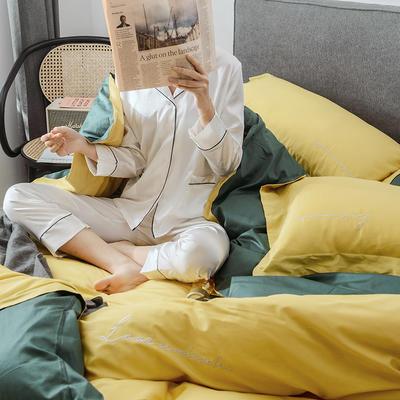 2019新品60双拼长绒棉四件套(实拍图) 1.8m(6英尺)床 柠黄-石墨绿