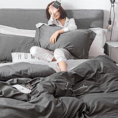 2019新品60双拼长绒棉四件套(实拍图) 1.8m(6英尺)床 碳素灰-浅灰