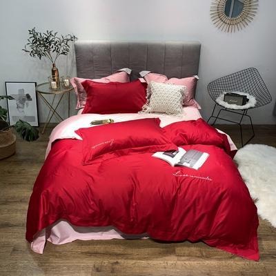 2019新品60双拼长绒棉四件套(实拍图) 1.8m(6英尺)床 胭脂红-浅粉