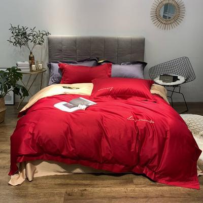 2019新品60双拼长绒棉四件套(实拍图) 1.8m(6英尺)床 胭脂红-驼