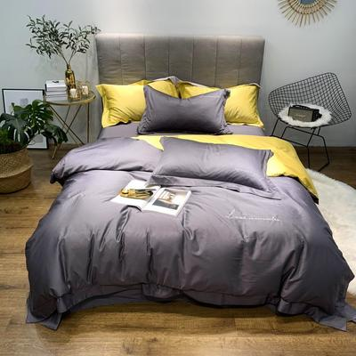 2019新品60双拼长绒棉四件套(实拍图) 1.8m(6英尺)床 紫墨灰-柠黄
