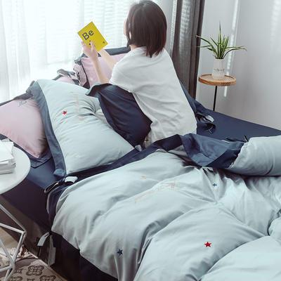 2019新款60长绒棉绣花蝴蝶结系列 夏至四件套(模特) 1.8m(6英尺)床 蓝灰