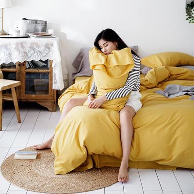 2019新款-全棉超柔鱼尾水洗棉四件套(模特图) 床单款1.8m(6英尺)床 鱼尾-姜黄