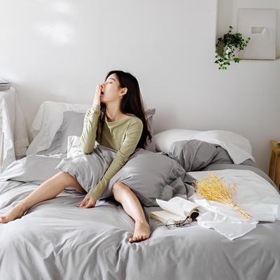 2019新款-全棉超柔鱼尾水洗棉四件套(模特图) 床单款1.8m(6英尺)床 鱼尾-浅灰
