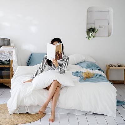2019新款-全棉超柔鱼尾水洗棉四件套(模特图) 床单款1.8m(6英尺)床 鱼尾-仙女白