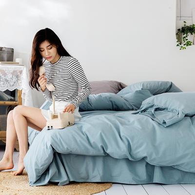 2019新款-全棉超柔鱼尾水洗棉四件套(模特图) 床单款1.8m(6英尺)床 鱼尾-忆蓝
