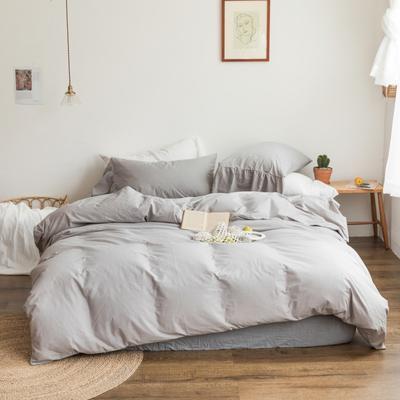 2019新款-全棉超柔鱼尾水洗棉四件套(实拍图) 床单款1.8m(6英尺)床 鱼尾-浅灰