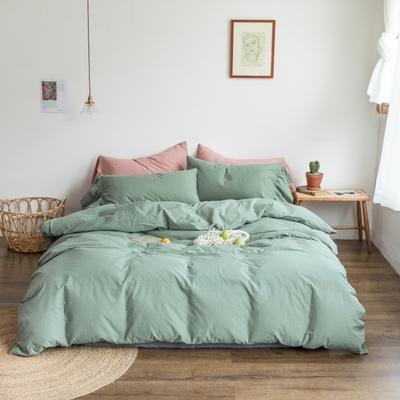 2019新款-全棉超柔鱼尾水洗棉四件套(实拍图) 床单款1.8m(6英尺)床 鱼尾-烟绿
