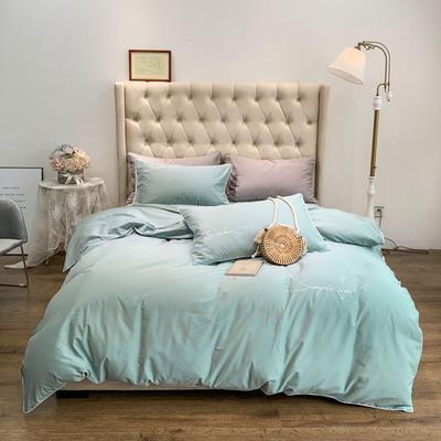 2019新款-60磨毛四件套(磨毛实拍) 床单款1.8m(6英尺)床 豆绿色