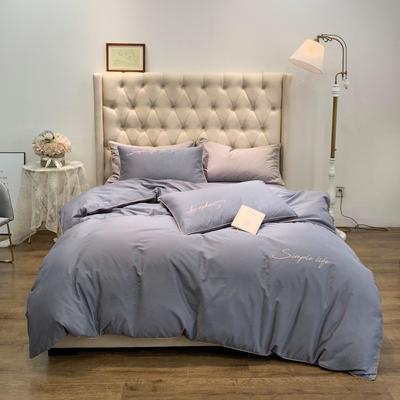 2019新款-60磨毛四件套(磨毛实拍) 床单款1.8m(6英尺)床 冷灰色
