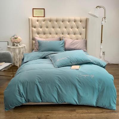 2019新款-60磨毛四件套(磨毛实拍) 床单款1.8m(6英尺)床 暮灰蓝