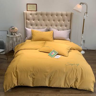 2019新款-60磨毛四件套(磨毛实拍) 床单款1.8m(6英尺)床 秋叶黄