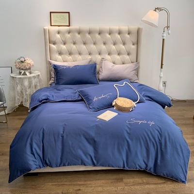 2019新款-60磨毛四件套(磨毛实拍) 床单款1.8m(6英尺)床 深海蓝