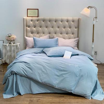 2019新款-60磨毛四件套(磨毛实拍) 床单款1.8m(6英尺)床 矢车菊蓝