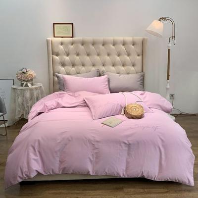 2019新款-60磨毛四件套(磨毛实拍) 床单款1.8m(6英尺)床 香芋紫