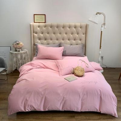2019新款-60磨毛四件套(磨毛实拍) 床单款1.8m(6英尺)床 樱花粉