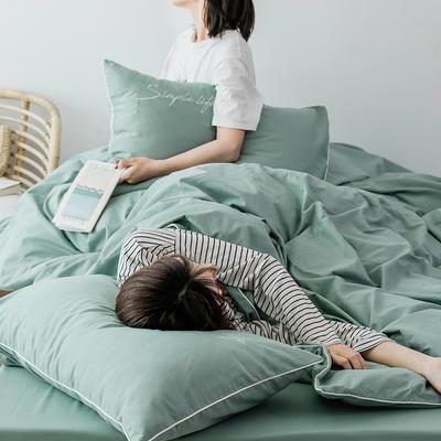 2019新款-60磨毛四件套(模特图) 床单款1.8m(6英尺)床 豆绿色