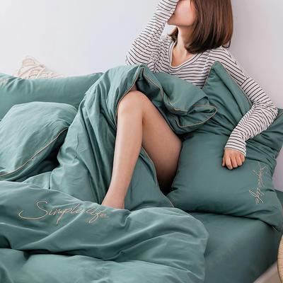 2019新款-60磨毛四件套(模特图) 床单款1.8m(6英尺)床 暮灰蓝
