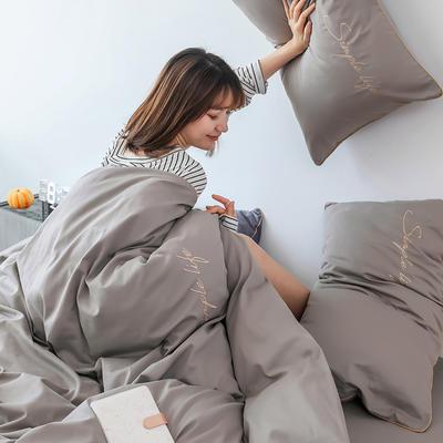 2019新款-60磨毛四件套(模特图) 床单款1.8m(6英尺)床 奶茶色