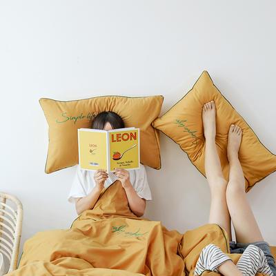 2019新款-60磨毛四件套(模特图) 床单款1.8m(6英尺)床 秋叶黄
