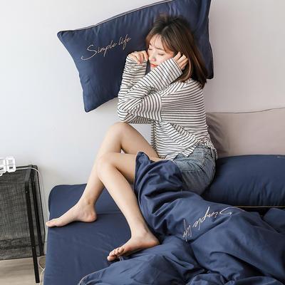 2019新款-60磨毛四件套(模特图) 床单款1.8m(6英尺)床 深海蓝